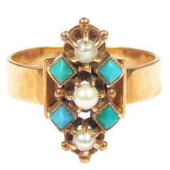 Victorian Gold Pearl and Turquoise Ring in Original Gift Box
