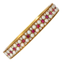 Victorian Gold, Pearl, Ruby, and Rose Diamond Bangle Bracelet in 18 Karat