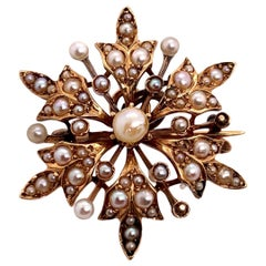 Victorian Gold Pendant Brooche Handcrafted Natural Pearl Gemstone, circa 1910