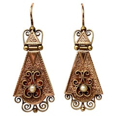 Victorian Gold Pendant Earrings Articulated Etruscan Revival 14 Karat Filigree