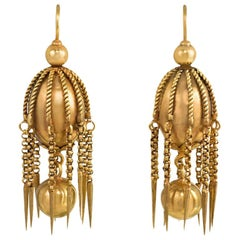 Victorian Gold Pendant Earrings of Ball and Fringe Design