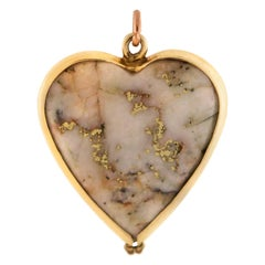 Victorian Gold Quartz Heart Pendant