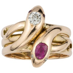 Victorian Gold, Ruby and Diamond Twin Serpent Ring