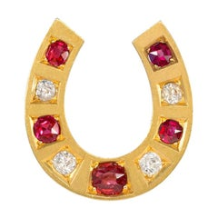 Victorian Gold, Ruby, Diamond, and Spinel Horseshoe Brooch