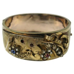 Victorian Gold Seed Pearl Wide Bangle Bracelet, 1870s