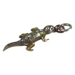 Victorian Gold, Silver, Diamond Lizard Charm, circa 1890