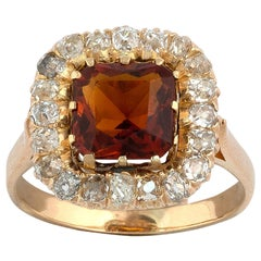 Victorian Gold Topaz and Diamond Cluster Ring