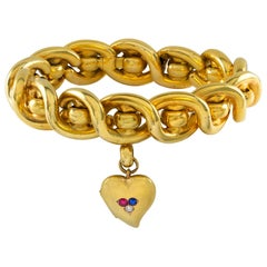 Victorian Gold Twist Bracelet with Gold Locket