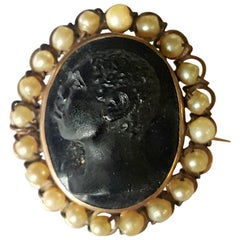 Victorian Gold with Natural Pearls Cameo Brooch