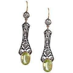 Victorian Golden Chrysoberyl and Diamond Drop Earrings