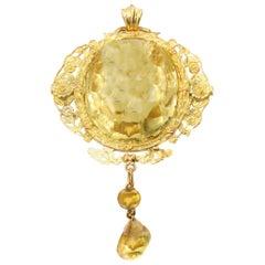 Victorian Golden Citrine 18 Karat Gold Pendant