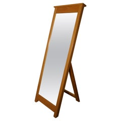 Victorian Golden Oak Arts & Crafts Cheval Mirror