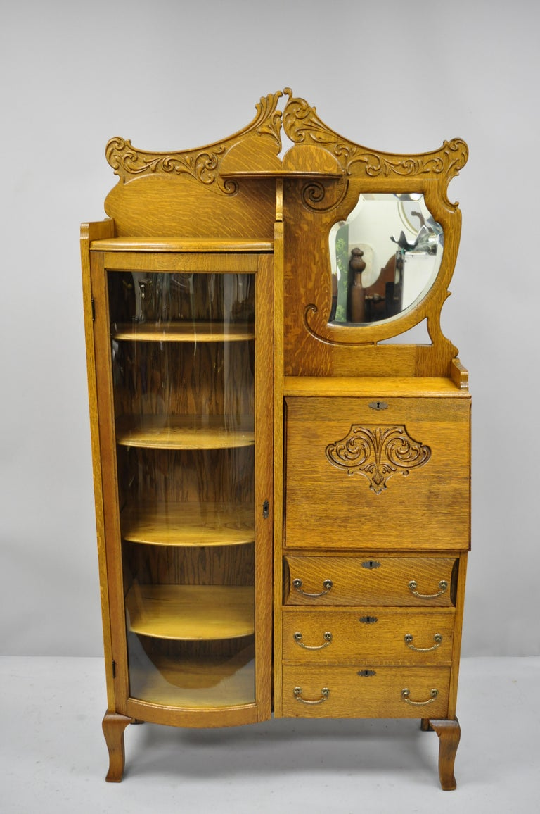 Victorian Golden Oak Side By Side Bow Glass Curio