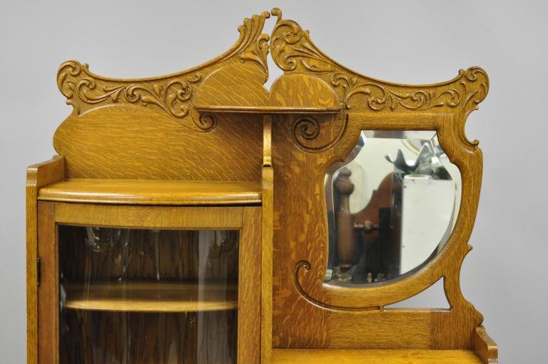 Victorian Golden Oak Side By Side Bow Glass Curio