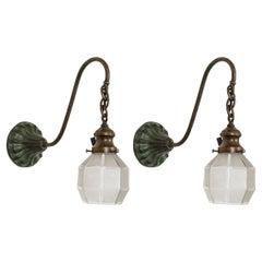 Victorian Gooseneck Darkened Brass Arm Sconces w/ Geometric Glass 'Pair'