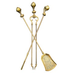 Victorian Gothic Brass Ball and Eagle Claw Motif Fire Companion Set