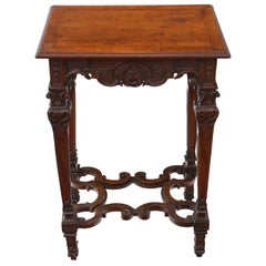 Victorian Gothic Carved Walnut Wine Table Side Occasional