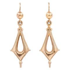 Victorian Gothic Geometric Drop Earrings, Circa 1890
