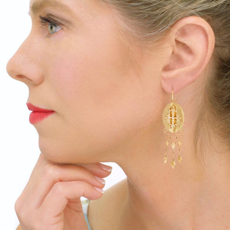 Women's Victorian Gothic Revival Gold Earrings