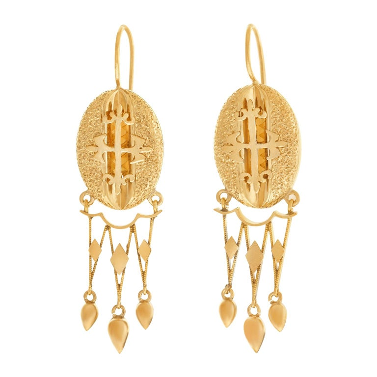 Victorian Gothic Revival Gold Earrings