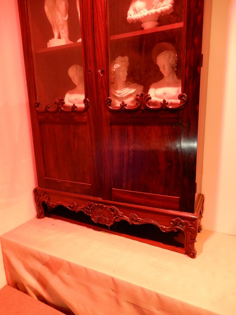 American Victorian Gothic Revival Rosewood Bookcase For Sale