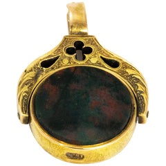 Victorian Gothic Style Bloodstone and Sardonyx Swivel Fob
