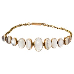 Victorian Graduated Moonstone Yellow Gold Bracelet