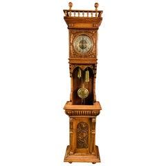 Victorian Grandfather Clock Open Oak circa 1880 with Turned Colum Gallery