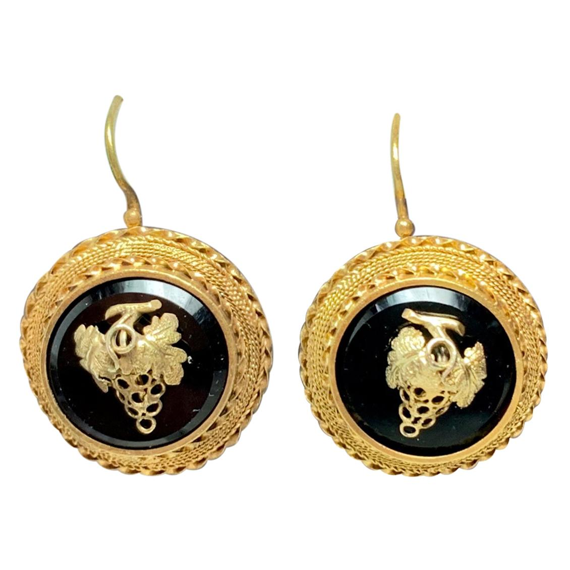 Victorian Grape Earrings Pendant Suite 14k Gold Black Onyx Etruscan Revival 1870