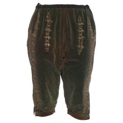 Victorian Green Cotton Velvet Rare Men's Antique Theatrical Pants With Metallic