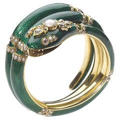 Victorian Green Enamel, Pearl, Diamond and Gold Snake Bangle