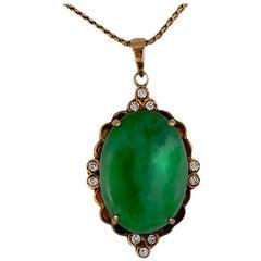 Victorian Green Jade, 18 Karat Diamond Pendant