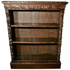 Victorian Green Man Gothic Open Bookcase