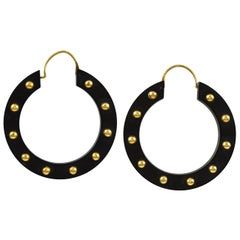 Victorian Gutta Percha and Gold Earrings