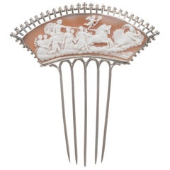 Victorian Hair Comb Shell Cameo Silver