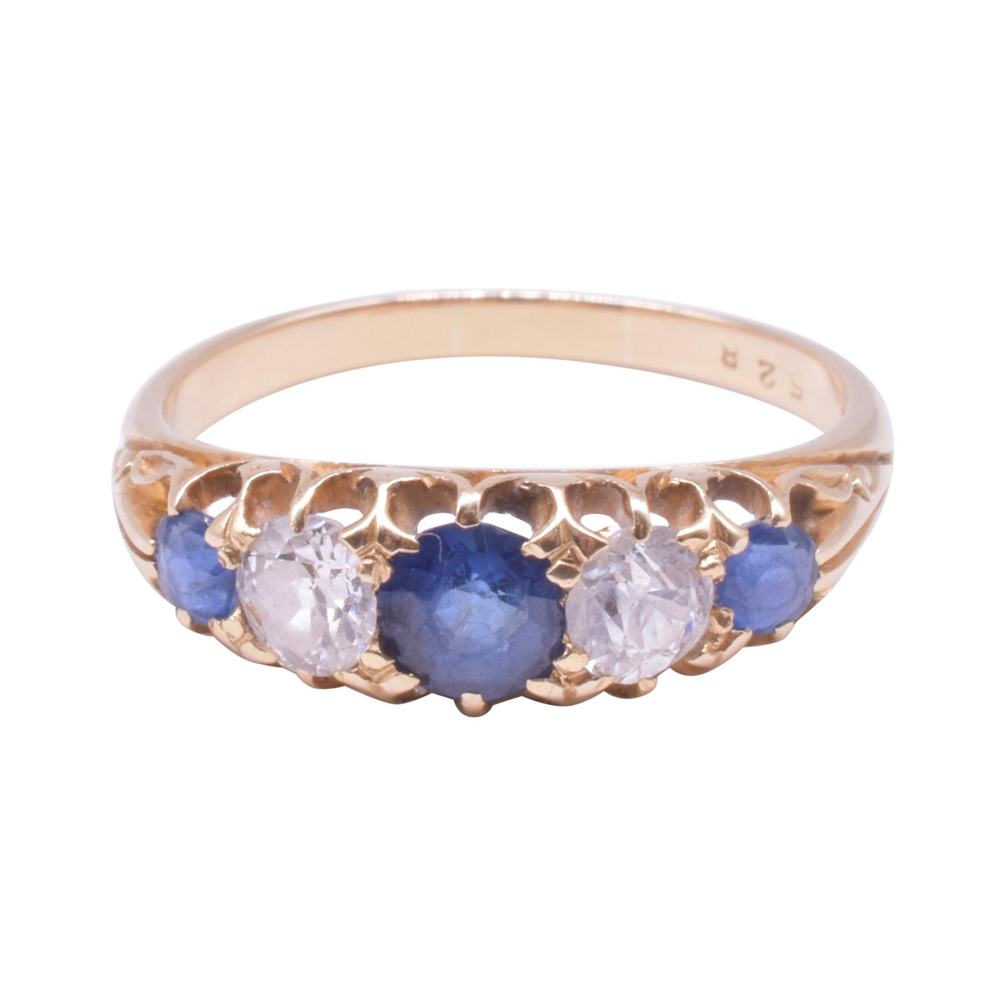 Victorian Half Hoop Five Stone Ring of 3 Sapphires and 2 Diamonds