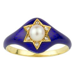 Victorian Half Pearl, Diamond and Blue Enamel Ring
