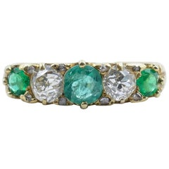 Victorian Hallmarked 18 Carat Yellow Gold Emerald and Diamond Carved Hoop Ring