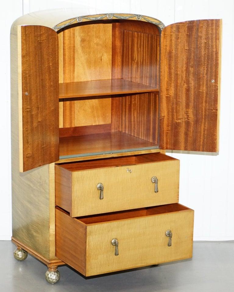 Victorian Hampton & Son's Satinwood Bedroom Suite Wardrobe Dressing Table Mirror For Sale 4