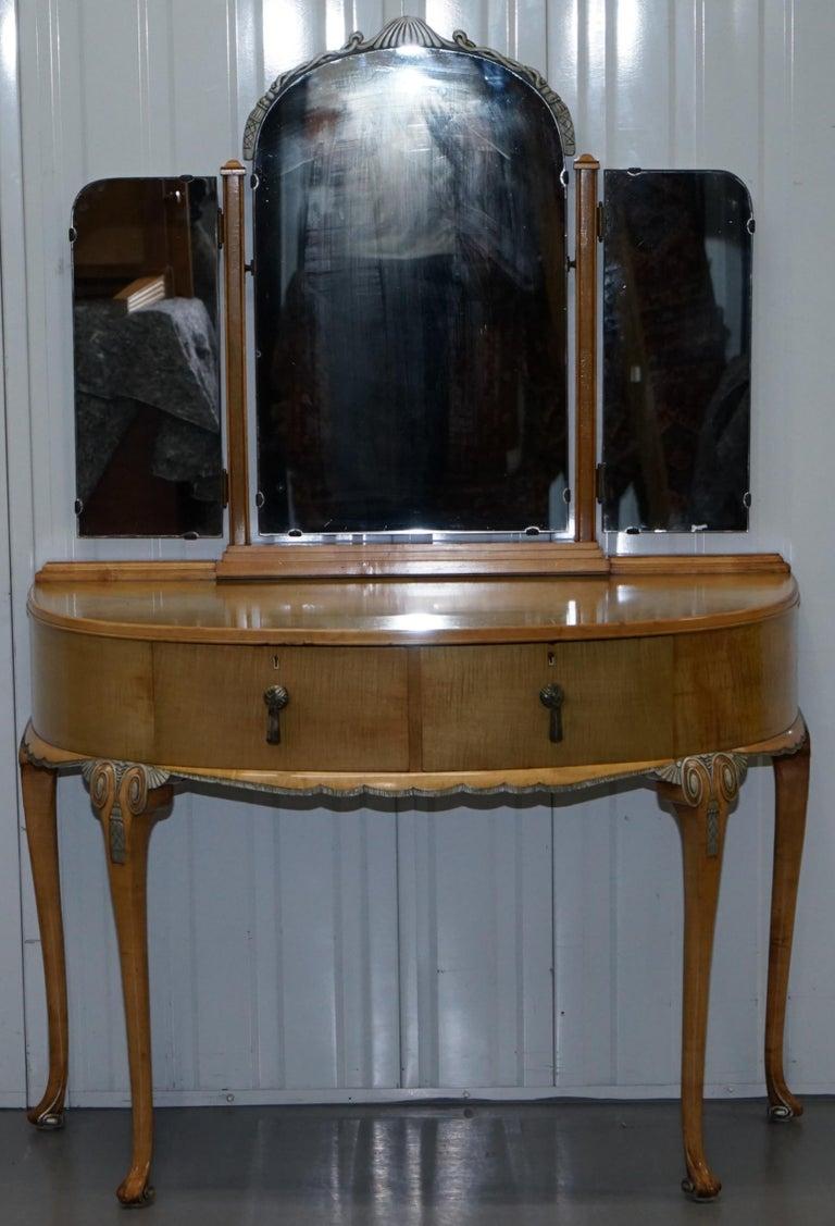 Victorian Hampton & Son's Satinwood Bedroom Suite Wardrobe Dressing Table Mirror For Sale 9