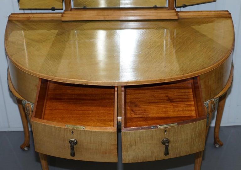 Victorian Hampton & Son's Satinwood Bedroom Suite Wardrobe Dressing Table Mirror For Sale 10