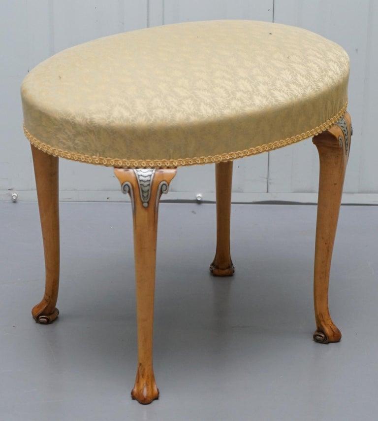 Victorian Hampton & Son's Satinwood Bedroom Suite Wardrobe Dressing Table Mirror For Sale 13