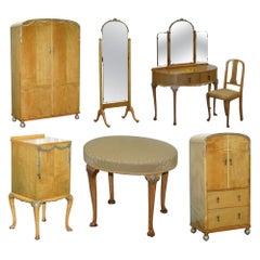 Victorian Hampton & Son's Satinwood Bedroom Suite Wardrobe Dressing Table Mirror