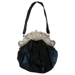 Victorian Hand Bag with Large Decorative Sterling Silver Clasp