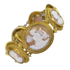 Victorian Hand Carved Cameo Bracelet Gold