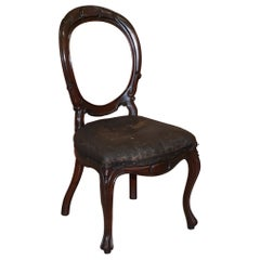 Victorian Hand Carved Mahogany Spoon Medallion Back Occasional Dining Chair