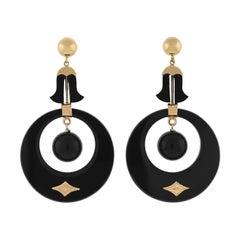 Victorian Hand Carved Onyx Hoop Earrings