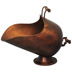 Victorian Handcrafted Copper Helmet Coal Scuttle or Log Holder