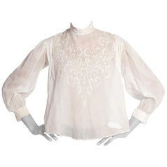 Victorian Hand Embroidered Organic Cotton Lace Blouse