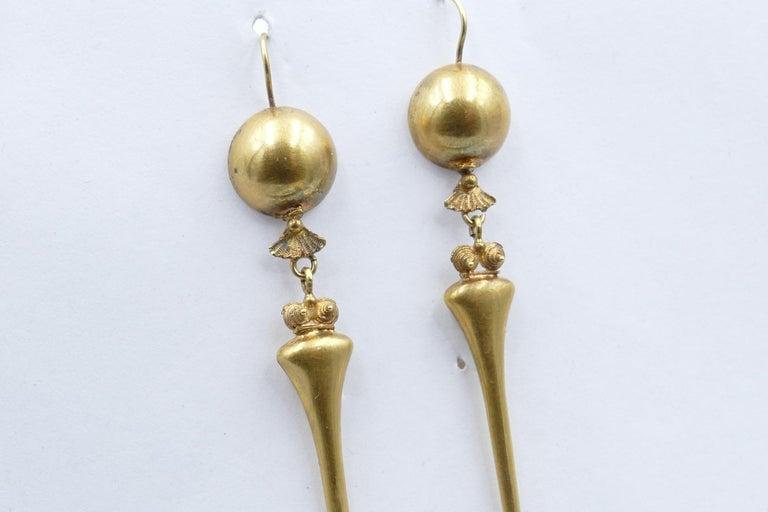 Victorian Handmade 9 Carat Yellow Gold Drop Earrings In Good Condition For Sale In Splitter's Creek, NSW